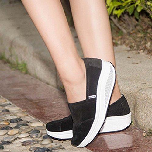 solshine Chaussures en daim avec talon compensé chaussures de course Loafers Plateau Loisirs pour femme Noir