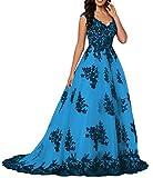 O.D.W Damen Formales Appliques Vintage Spitzenkleid Ballkleider Lange Party Abendmode Brautkleider(Schwarz+Blau, 40)