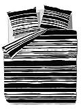 2 tlg. etérea Microfaser Bettwäsche Carola Streifen Gestreift Schwarz Weiß, 135x200 cm + 80x80 cm