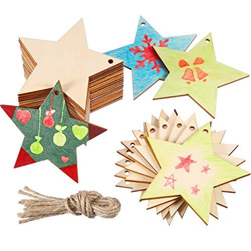 96 Pezzi Ornamenti in Legno Incompiuta Natale Ornamenti in Legno da Appendere Abbellimenti Artigianato per DIY, Natale Decorazione da Appendere con Forme Belle (Stella Bianca)