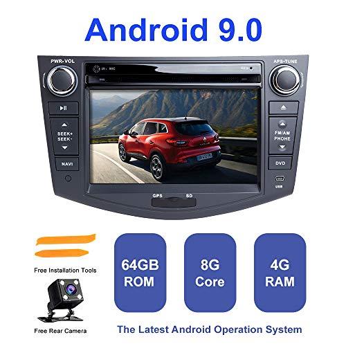 Android Autoradio Stereo, ZLTOOPAI Für Toyota RAV4 2006-2012 Android 9,0 Octa Core 4G RAM 64G ROM 7 Zoll Kapazitiver HD Multi-Touchscreen Auto Stereo GPS Radio DVD-Player Mit Freier Rückfahrkamera