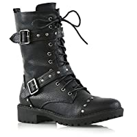 Womens Biker Lace Up Mid Calf Ladies Studded Punk Military Combat Army Boots Shoes