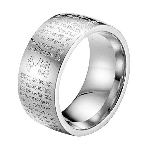 HIJONES Herren Buddhistischen Mantra Herz Sutra 10mm Breite Edelstahl Ring Band, Dichtung Skript Chinesischen Stil Silber Größe 57