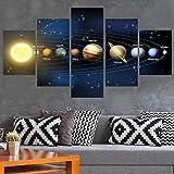 Stampe e Quadri su Tela 5 Pannelli Nove Pianeti nel Sistema Solare Poster Soggiorno Arte Murale Pittura Decorazioni per La Casa Immagini (Taglia C) Senza Cornice