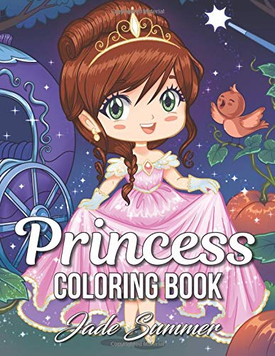 Princess Coloring Book: An Adult Coloring Book with Cute Kawaii Princesses, Classic Fairy Tales, and Fun Fantasy Scenes for Relaxation por Jade Summer