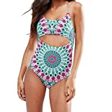 Mounter-Swimwear Clearance Damen Retro Vintage Bademode Monokini Bikini, Damen, Mehrfarbig, XL