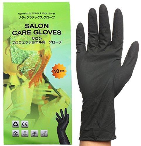 Schwarze Wiederverwendbare Latex Handschuhe, Salon Haarfarbe Handschuhe zum Schutz gegen Haarfärbemittel - Mittelgroß (Packung mit 10 Stück)