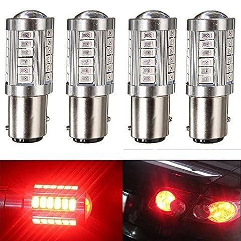 KATUR 4pcs 1157 BAY15D 5630 33-SMD Red 900 Lumens 8000K Super Bright LED Turn Tail Brake Stop Signal Light Lamp Bulb 12V