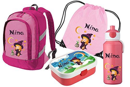 Mein Zwergenland Set 5 Kinderrucksack Bicolor, Brotdose Mepal mit Bento Box und Gabel, Pop-up Flasche und Turnbeutel mit Namen, 4-teilig, Rosa