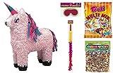 PIÑATA-SET: Rosa Einhorn Zieh-Piñata + Schläger + Maske + Süßigkeiten-Füllung + Konfetti