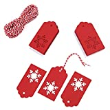 Whaline 100 Pcs Christmas Paper Tags Kraft Gift Tags Snowflake Shape Hang Labels with 30 Meters Twine for Wedding Valentine's Day and DIY Arts and Crafts Decorations (red)