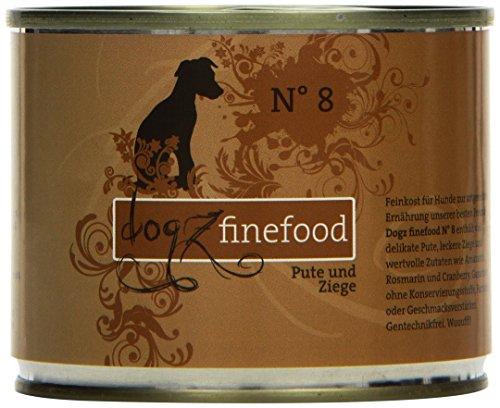 hundeinfo24.de Dogz finefood Hundefutter No.8 Pute & Ziege 200g, 6er Pack (6 x 200 g)