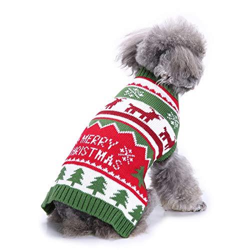 TYJY Haustier Hund Pullover Weihnachten Kleiner Hund Hässliche Pullover Rentier Weihnachtsbaum Häkeln Welpen Strickwaren Kätzchen Urlaub Kleidung