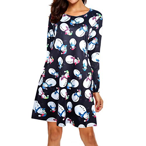Preisvergleich Produktbild Luckycat Damen Weihnachtsweihnachtskleid Langarms Hülsen Sankt Outfit Abendkleider Cocktailkleid Partykleider Blusenkleid Mode 2018