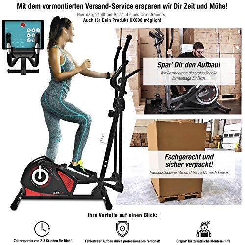Sportstech AUFGEBAUT CX608 Crosstrainer mit Smartphone App & Bluetooth Konsole, Pulsgurt kompatibler Ellipsentrainer mit Tablet-Halterung-Ergometer, 12 Kg Schwungmasse, Heimtrainer -