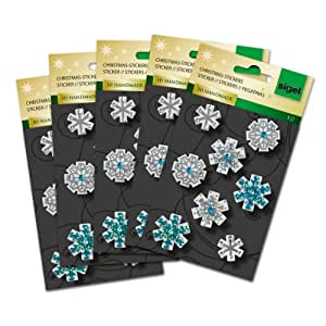 Sigel CS311 30 autocollants de Noël, Stickers flocons de neige, 3D, argenté et bleu