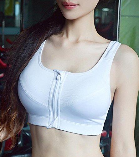 Femme Helisopus ancien haut zipper sport fermeture exercice de yoga soutien-gorge Blanc