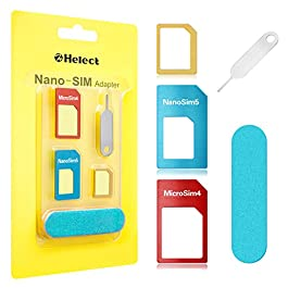 Helect SIM Card Adapter, 5-in-1 Nano & Micro SIM Card Adapter, Kit Converter with Polish Chip and Eject Needle