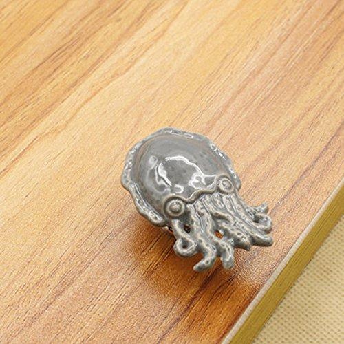 artoon Keramik Knöpfe/Griffe/zieht für Küche Schränke, Schränke, Kleiderschrank, Kommode, Schublade,, BIN, Brust etc. Vintage DIY Home Deko, keramik, Octopus, 5 Stück ()
