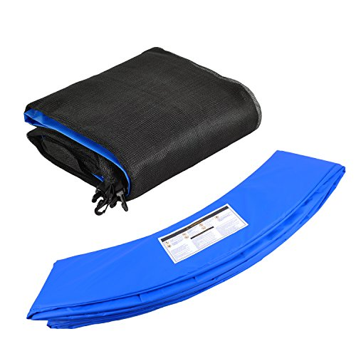 Trampolinzubehör Set für Trampolin 305cm – 6Stangen beinhaltet: Blau 180cm Höhe Ersatznetz Sicherheitsnetz Trampolinnetz + PVC - UV beständige Federabdeckung Randabdeckung