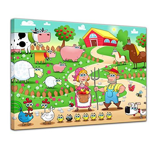 Keilrahmenbild - Kinderbild - Bauernhof - 120 x 90 cm - Bilder als Leinwanddruck - Wandbild von Bilderdepot24 - Kinder - Cartoon - lustige Tiere auf dem Bauernhof