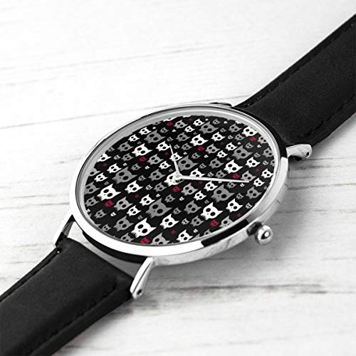 Unisex Ultra Thin Fashion Minimalista Relojes de Pulsera Cat Skulls Oscuro Variante Impermeable de Cuarzo Reloj Casual Hombres Mujeres