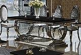 Esszimmertisch 220x100 cm Amelie Edelstahl Esstisch Glastisch Tisch Schwarzglas