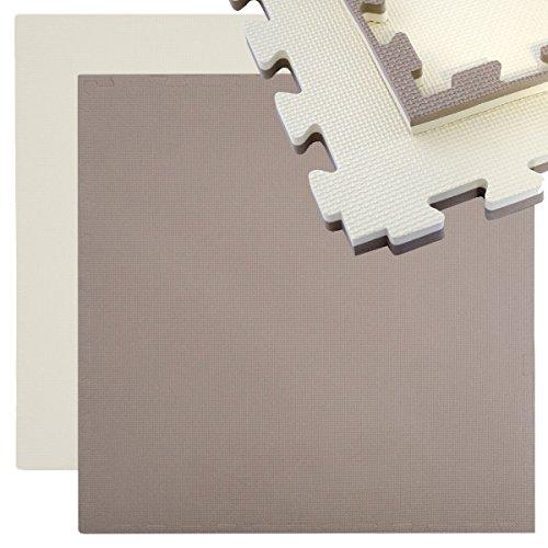 eyepower tappeto per sport 90x90cm incl bordo tappetino puzzle estensibile in morbida eva 25mm di spessore double-face marrone beige