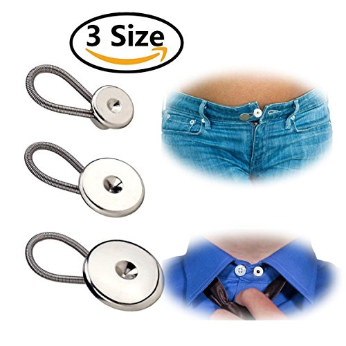 homiki 12teilig aus Metall Ösen Taste Extender elastisch für Anpassen Hemd Kleid Hosen 3Größen