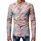 BaZhaHei Herren Langarmshirt Männer Mode Printed Bluse Langarm Slim Shirts Tops Slim Fit Kurzarm Muscle Tops Bluse Shirts