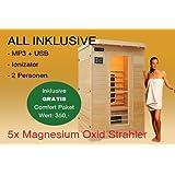 Ivar-2 LUXE pour 2 pers. Cabine & sauna infrarouge / Cabine chauffante infrarouge + Radio CD MP3 + Ionisateur + lampes LED + Lampe de lecture tout en un   + 1750 W
