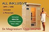 LUXUS - Cabina de sauna infrarrojos para 2 personas (MP3, CD, radio, ionizer, lámparas LED, 1750 W)