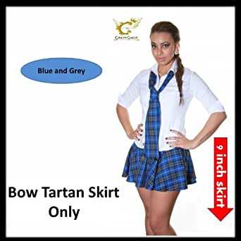 Ladies Sexy Mini Hipster Stylish Checkered Tartan Skirts With Bow (Large/Xtra Large, Blue Grey)