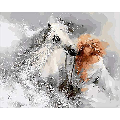 KMxm Weißer Schnee Pferd Ölgemälde Bilder Nach Zahlen Digital Pictures Paris Gebäude Färbung Von Hand Einzigartige Geschenk Home Decoration