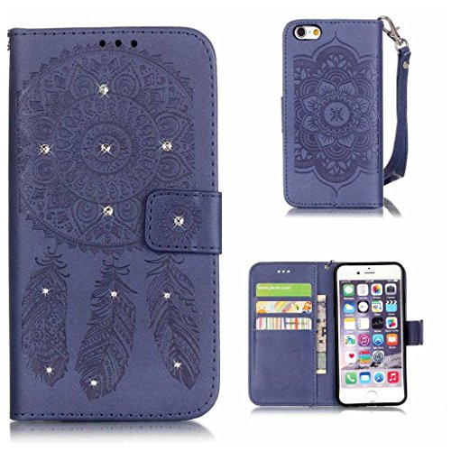 Price comparison product image iPhone 6s Case, KKEIKO® iPhone 6 / iPhone 6s Wallet Case, Flip Leather Case and Cover with Bling Rhinestone, Book Style Bumper Cover Case for Apple iPhone 6 / iPhone 6s with Free Tempered Glass Screen Protector (Blue)