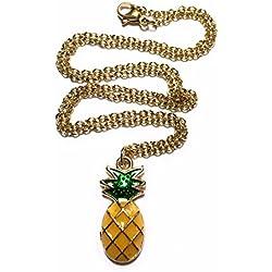 FizzyButton Gifts - Collar con colgante de piña con cadena de acero inoxidable chapada en oro en caja de regalo