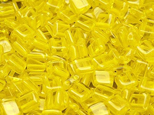 40pcs Ceco Perle di vetro Tile con due fori, piatto quadrata 6x6x2.9mm Amber