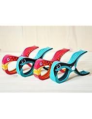 Tuuli Beach Towel Clips 4 Hochwertige Strandtuch Klammer befestigen Handtuch Strandtasche Strandkleid Sonnenbrillen Strandmuschel an Sonnenliege Ideal für Windsurf Segeln Wakeboard Packung enthält 2 Sharky Pink + 2 Parrot Turquoise