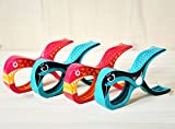Tuuli Beach Towel Pegs 4pcs High Quality Large Towel Clips for Sunbeds Sun loungers Keep Beach Accessories in Place Colorful Design 2 Shark Pink + 2 Parrot Turquoise - Tuuli Clips - amazon.co.uk