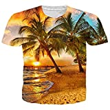 Funnycokid Men's T-Shirts All Over Print Round Neck Short Sleeve Beach Couples Tees