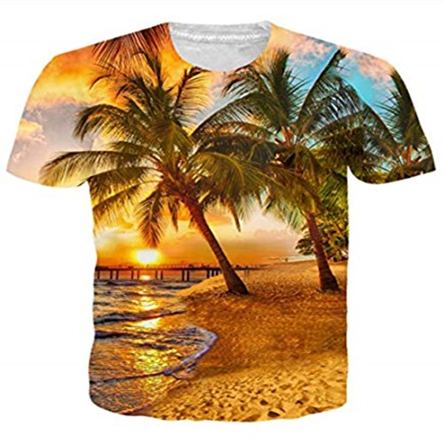 Funnycokid Junioren T-Shirts 3D Drucken Hawaii Palme Kurzarm Teenager Jungen T-Shirts