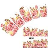 JUSTFOX - Tattoo Nail Blumen Rosen Blüten Nagel Sticker