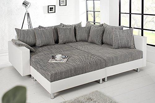 Design Ecksofa mit Hocker LOFT weiss Strukturstoff grau Federkern Sofa OT beidseitig aufbaubar - 5