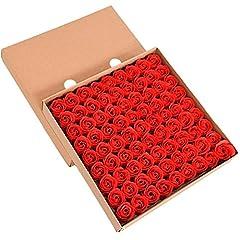 Idea Regalo - TININNA Bello Artificiale Rose Fiore del Sapone per Le Decorazione Domestica Matrimonio San Valentino Rosso