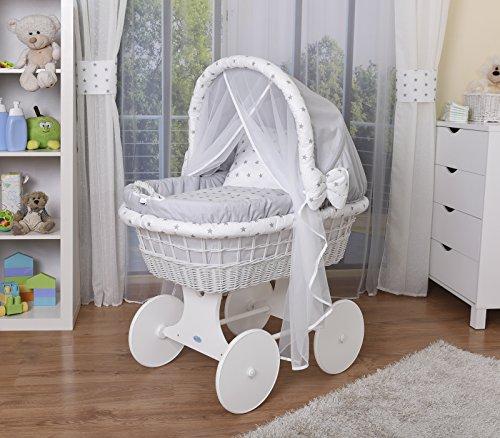 WALDIN Baby Stubenwagen-Set mit Ausstattung,XXL,Bollerwagen,komplett,44 Modelle wählbar,Gestell/Räder weiß lackiert,Stoffe grau/Sterne-grau