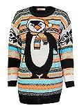 FashionClothing Damen aztekischen Pinguin Druck gestrickte Weihnachts Pullover