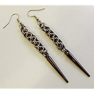 Spike Earrings Stainless Steel, Antique Black Spike Dangle Earrings, Punk Goth Glamour Chainmail