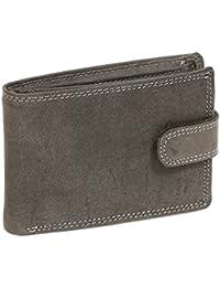 Portefeuille pour homme et femme avec verrouillage externe format paysage Vintage-Style LEAS MCL, cuir véritable, noir - ''LEAS Basic-Vintage-Collection''