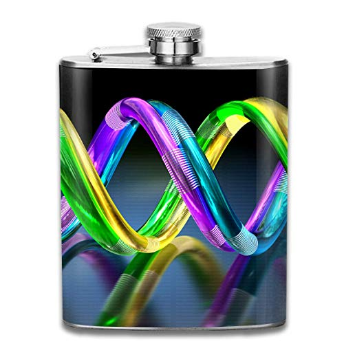 Colorful Double Helix Retro Portable 304 Stainless Steel Leak-Proof Alcohol Whiskey Liquor Wine 7OZ Pot Hip Flask Travel Camping Flagon for Man Woman Flask Great Little Gift -