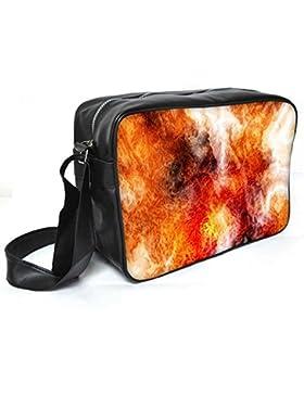 Snoogg Crazy Fire Leder Unisex Messenger Bag für College Schule täglichen Gebrauch Tasche Material PU